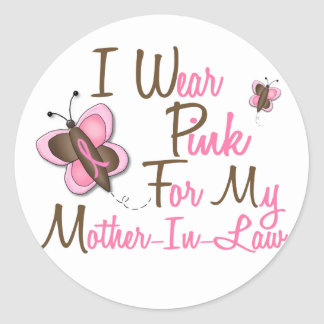 I Wear Pink For My Mother-In-Law 22 BREAST CANCER Classic Round Sticker