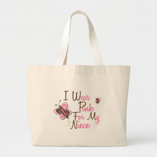 I Wear Pink For My Niece 22 BREAST CANCER T-Shirts Large Tote Bag