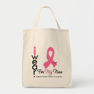 I Wear Pink For My Niece Breast Cancer Canvas Bags