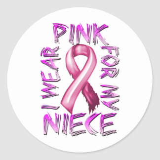 I Wear Pink for my Niece.png Classic Round Sticker