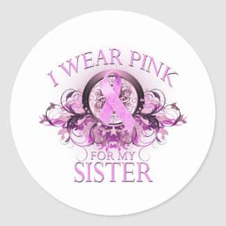 I Wear Pink for my Sister (floral) Classic Round Sticker