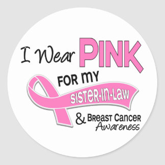 I Wear Pink For My Sister-In-Law 42 Breast Cancer Round Stickers
