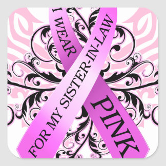 I Wear Pink for my Sister in Law png Square Stickers