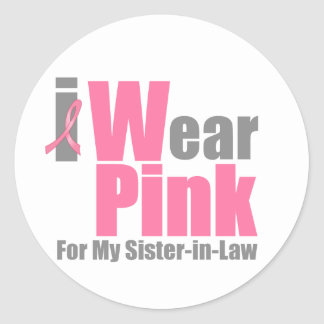 I Wear Pink For My Sister-in-Law Round Sticker