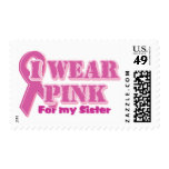 I wear pink for my sister postage stamp