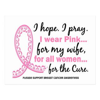 I Wear Pink For My Wife Filigree Pink Ribbon Postcard