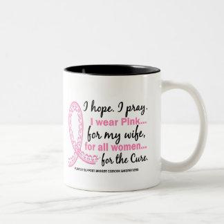I Wear Pink For My Wife Filigree Pink Ribbon Two-Tone Coffee Mug