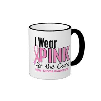 I Wear Pink For The Cure 10 Breast Cancer Ringer Mug