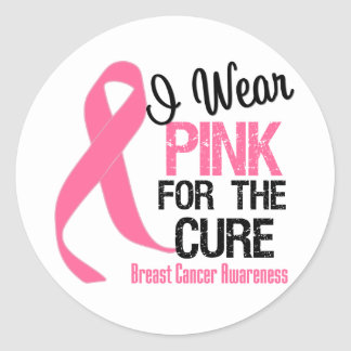 I Wear Pink For The Cure Classic Round Sticker