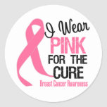 I Wear Pink For The Cure Round Stickers