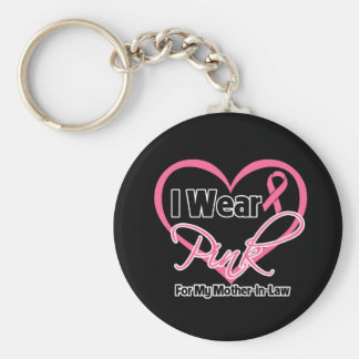I Wear Pink Heart Mother-in-Law Breast Cancer Basic Round Button Keychain