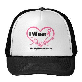 I Wear Pink Heart Mother-in-Law Breast Cancer Trucker Hats