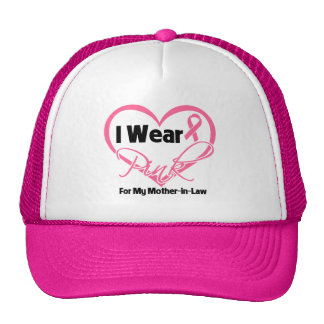 I Wear Pink Heart Mother-in-Law Breast Cancer Hats