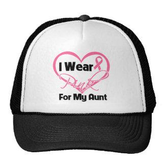 I Wear Pink Heart Ribbon Aunt Breast Cancer Trucker Hats