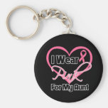 I Wear Pink Heart Ribbon Aunt Breast Cancer Keychains