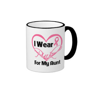 I Wear Pink Heart Ribbon Aunt Breast Cancer Ringer Coffee Mug