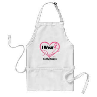 I Wear Pink Heart Ribbon Daughter Breast Cancer Aprons
