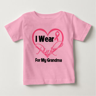 I Wear Pink Heart Ribbon Grandma Breast Cancer T-shirt