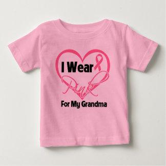 I Wear Pink Heart Ribbon Grandma Breast Cancer Tshirt