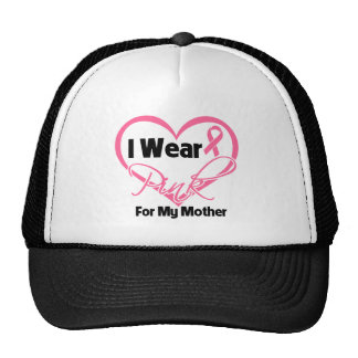 I Wear Pink Heart Ribbon Mother Breast Cancer Mesh Hats