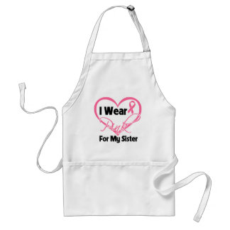 I Wear Pink Heart Ribbon Sister Breast Cancer Apron