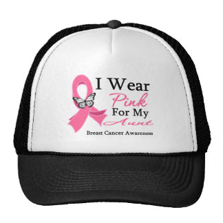 I Wear Pink Ribbon Aunt Breast Cancer Hat