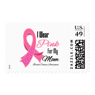 I Wear Pink Ribbon Breast Cancer Mom Postage Stamps
