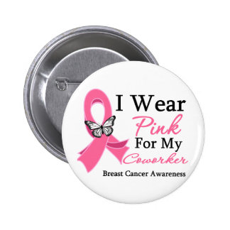 I Wear Pink Ribbon Coworker Breast Cancer Pin