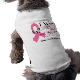 I Wear Pink Ribbon For All Warriors Breast Cancer Pet Shirt