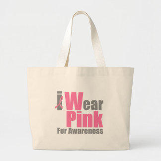 I Wear Pink Ribbon For Awareness Canvas Bags