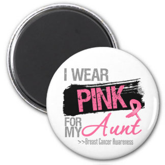I Wear Pink Ribbon For My Aunt Breast Cancer 2 Inch Round Magnet
