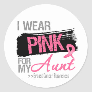 I Wear Pink Ribbon For My Aunt Breast Cancer Classic Round Sticker