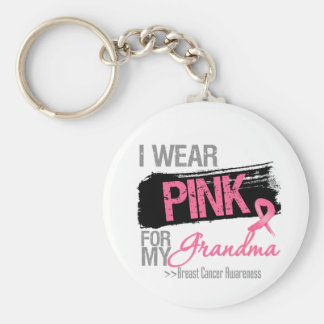 I Wear Pink Ribbon For My Grandma Breast Cancer Basic Round Button Keychain