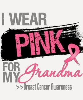 I Wear Pink Ribbon For My Grandma Breast Cancer Tee Shirt