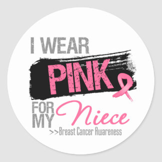 I Wear Pink Ribbon For My Niece Breast Cancer Round Stickers