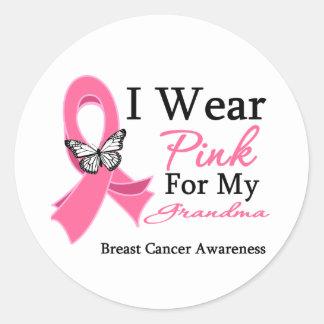 I Wear Pink Ribbon Grandma Breast Cancer Classic Round Sticker