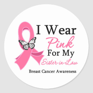 I Wear Pink Ribbon Sister-in-Law Breast Cancer Stickers