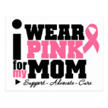 I Wear Pink Ribbon Support For My Mom Postcard