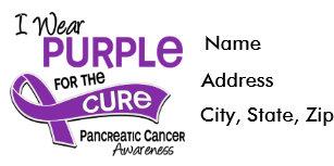 I Wear Purple 42 Cure Pancreatic Cancer Label