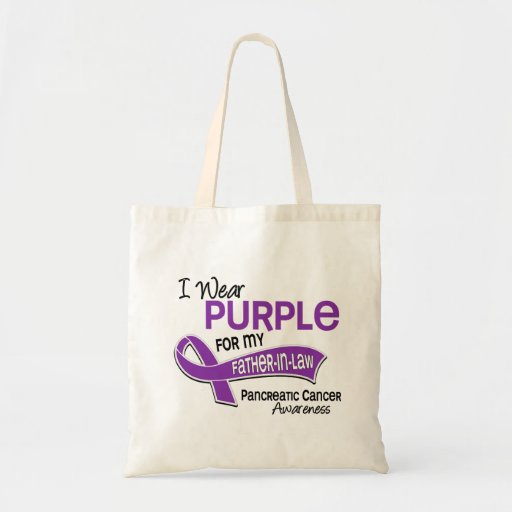 I Wear Purple 42 Father-In-Law Pancreatic Cancer Budget Tote Bag