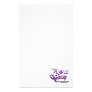 I Wear Purple 42 Husband Pancreatic Cancer Stationery