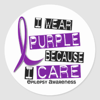 I Wear Purple Because I Care 37 Epilepsy Classic Round Sticker