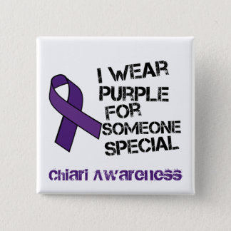 I Wear Purple Chiari Awareness Ribbon Button