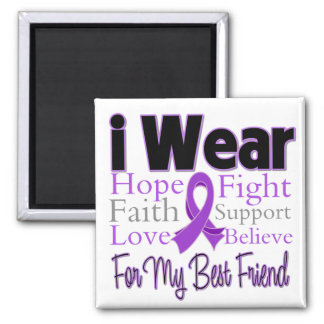 I Wear Purple Collage Best Friend - Pancreatic Can 2 Inch Square Magnet