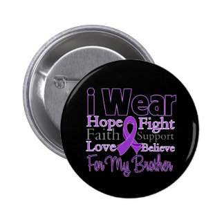 I Wear Purple Collage Brother - Pancreatic Cancer Pinback Button