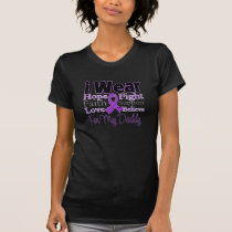 I Wear Purple Collage Daddy - Pancreatic Cancer T-Shirt