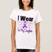 I Wear Purple Collage Daughter - Pancreatic Cancer T-Shirt