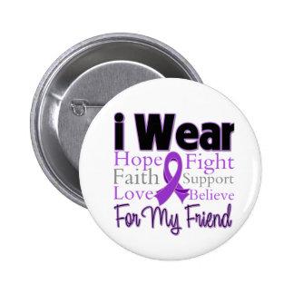 I Wear Purple Collage Friend - Pancreatic Cancer Pinback Button