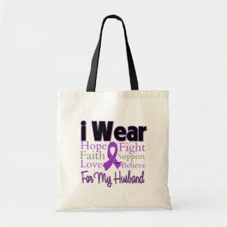 I Wear Purple Collage Husband - Pancreatic Cancer Budget Tote Bag