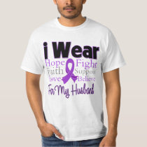 I Wear Purple Collage Husband - Pancreatic Cancer T-Shirt